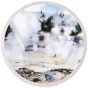 Fountain Paint Pot Yellowstone Np Round Beach Towel