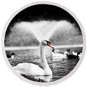 Fountain Swan Round Beach Towel by Shane Holsclaw