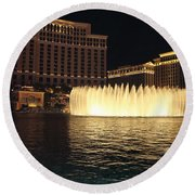 Fountain Vegas Round Beach Towel