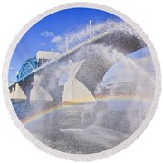 Fountains And The Market Street Bridge Round Beach Towel by Tom and Pat Cory