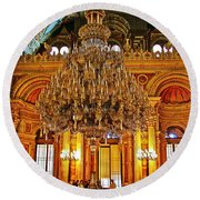 Four And One-half Ton Crystal Chandelier In Ceremonial Hall In Dolmabache Palace In Istanbul-turkey  Round Beach Towel