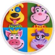 Four Animal Faces Round Beach Towel