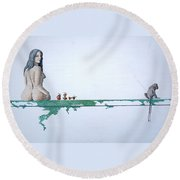 Four Bitten Fruit Round Beach Towel