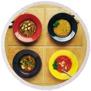 Four Dishes Of Different Food Round Beach Towel
