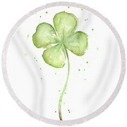 Four Leaf Clover Lucky Charm Round Beach Towel by Olga Shvartsur