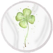 Four Leaf Clover Lucky Charm Round Beach Towel