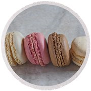 Four Macarons In A Row Round Beach Towel