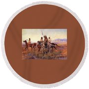 Four Mounted Indians Round Beach Towel