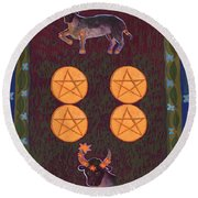 Four Of Pentacles Round Beach Towel