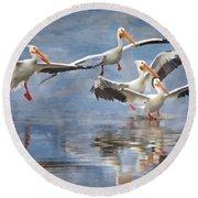 Four Pelican Landing Watercolor Effect Round Beach Towel