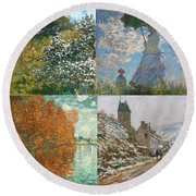 Four Seasons A Collage Of Monets Round Beach Towel