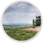 Four Standing Stones On The Clent Hills Round Beach Towel