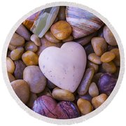 Four Stone Hearts Round Beach Towel