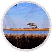 Four Trees H Round Beach Towel