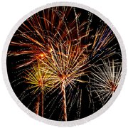 Fourth Of July Fireworks  Round Beach Towel by Saija  Lehtonen