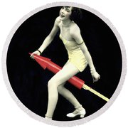 Fourth Of July Rocket Girl Round Beach Towel by Underwood Archives