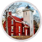 Fourty Mile Point Lighthouse Round Beach Towel