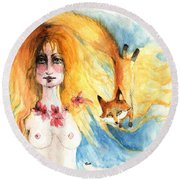 Fox Girl Round Beach Towel