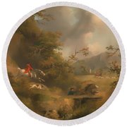 Fox Hunting In Hilly Country Round Beach Towel
