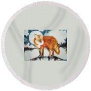 Fox In The Moon Round Beach Towel