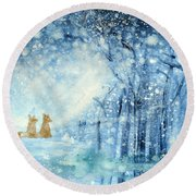 Foxes In The Snow Round Beach Towel