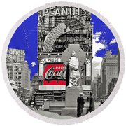 Fr. Duffy Statue Prior To Unveiling Coca Cola Sign Times Square New York City 1937-2014 Round Beach Towel