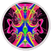 Fractal 15 Color Cacophony  Round Beach Towel