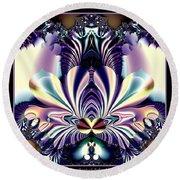 Fractal 26 Jeweled Tone Lotus Flower Round Beach Towel