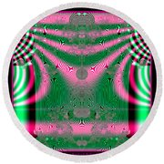 Fractal 34 Kimono In Pink And Green Round Beach Towel