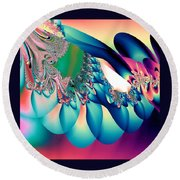 Fractal Abstract 001 Round Beach Towel