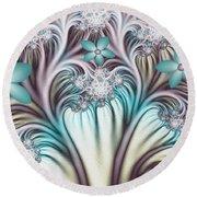 Fractal Abstract Fantasy Flower Garden 2 Round Beach Towel