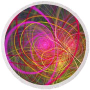 Fractal - Abstract - Loopy Doopy Round Beach Towel by Mike Savad