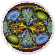 Fractal Art Egg Round Beach Towel