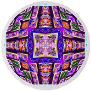 Fractal Ascension Round Beach Towel by Derek Gedney