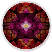 Fractal - Aztec - The All Seeing Eye Round Beach Towel