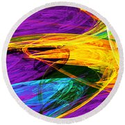 Fractal - Butterfly Wing Closeup Round Beach Towel