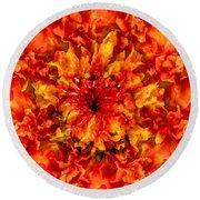 Fractal Chrysanthemum Round Beach Towel