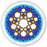 Fractal Escher Winter Mandala 3 Round Beach Towel
