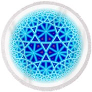 Fractal Escheresque Winter Mandala 4 Round Beach Towel