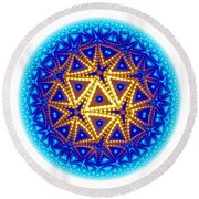 Fractal Escheresque Winter Mandala 6 Round Beach Towel