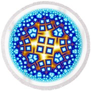 Fractal Escheresque Winter Mandala 9 Round Beach Towel