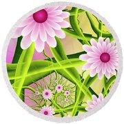 Fractal Fantasy Neon Flower Garden Round Beach Towel
