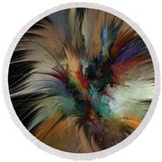 Fractal Feathers Round Beach Towel