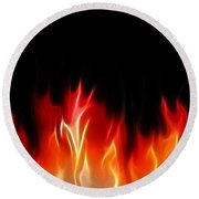 Fractal Flames Round Beach Towel
