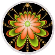 Fractal Floral Decorations Round Beach Towel