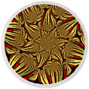 Fractal Golden And Red Round Beach Towel