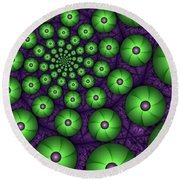 Fractal Green Shapes Round Beach Towel