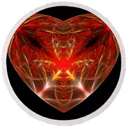 Fractal - Heart - Open Heart Round Beach Towel