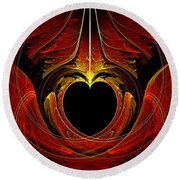 Fractal - Heart - Victorian Love Round Beach Towel