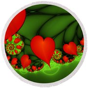 Fractal Hearts In The Discothec Round Beach Towel